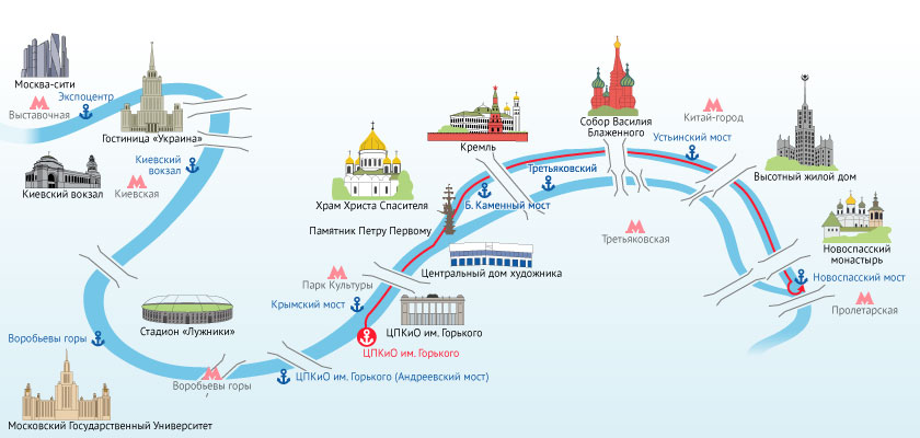 Карта портов на Москва-реке. Фото: riverflot.ru