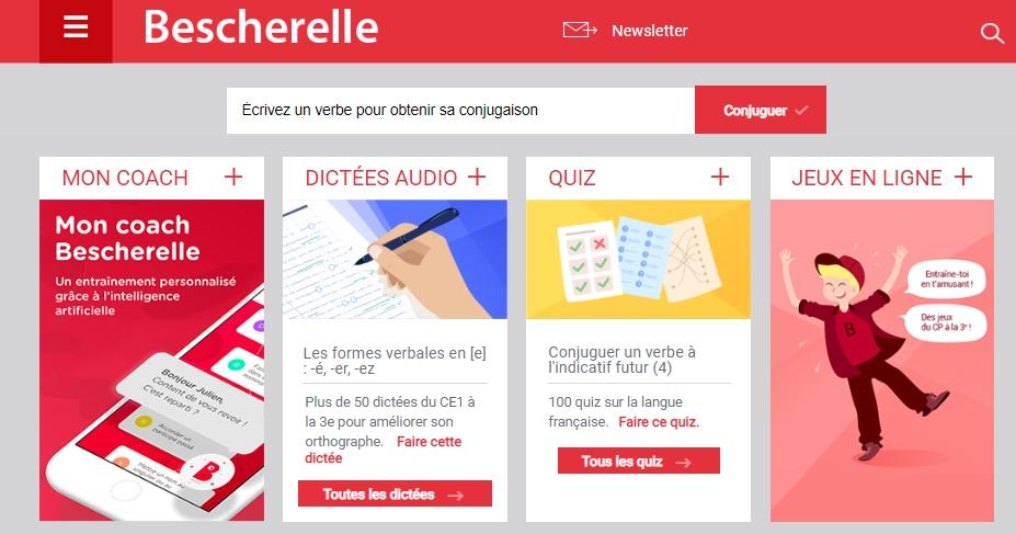 Скриншот сайта bescherelle.com