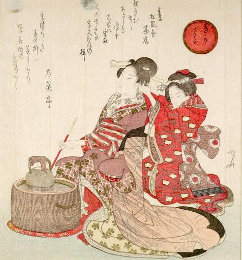 Бидзин-га и муся-э, в свою очередь, были связаны с театром кабуки и его утрированными сценическими движениями, вычурными позами и броскими костюмами